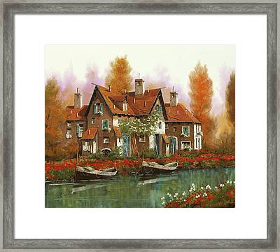 Papaveri Al Torrente Framed Print by Guido Borelli