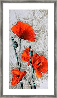 Papaveri Verticali Framed Print by Guido Borelli