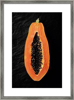 Papaya Cross-section On Black Slate Framed Print