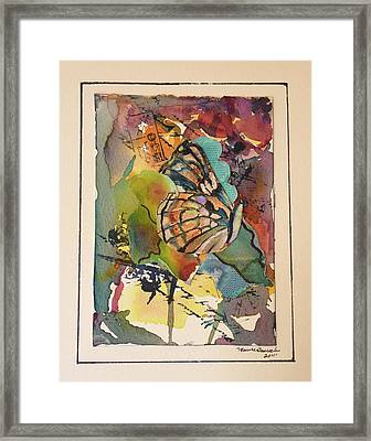 Framed Print featuring the painting Paper Butterfly by P Maure Bausch