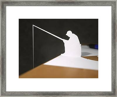 Paper Fisherman Fishing From Desk Framed Print by Richard Seanor