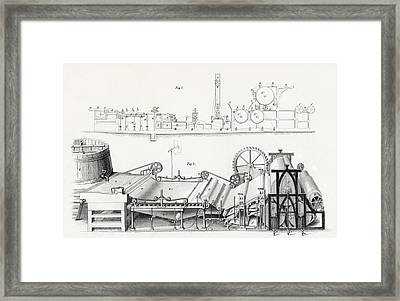 Paper Making Machine, 19th Century Framed Print by Vintage Design Pics