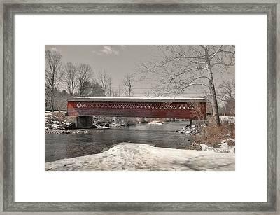 Paper Mill Village Bridge Framed Print by JAMART Photography