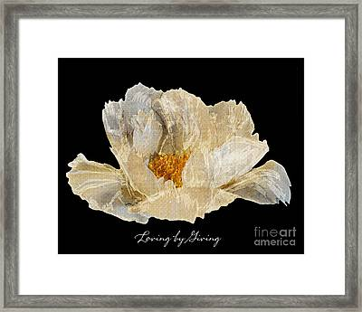 Framed Print featuring the photograph Paper Peony Loving By Giving by Diane E Berry