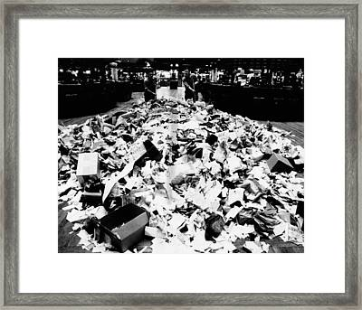 Paper Refuse After Heavy Trading Framed Print