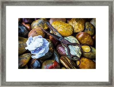 Paper Scissors Rocks Framed Print by Garry Gay