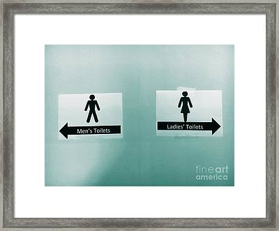 Paper Toilet Signs Framed Print