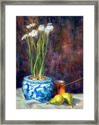 Paper Whites And Pears Framed Print by Jill Musser