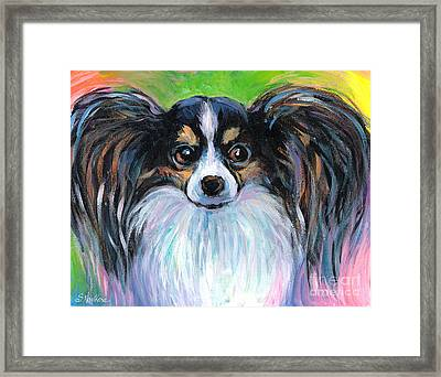 Papillon Dog Painting Framed Print by Svetlana Novikova