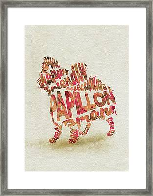 Framed Print featuring the painting Papillon Dog Watercolor Painting / Typographic Art by Inspirowl Design