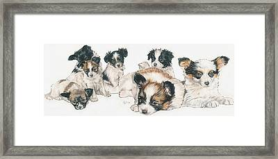 Papillon Puppies Framed Print