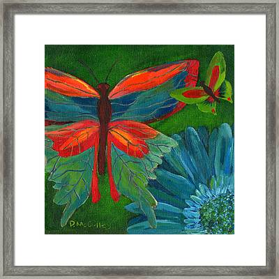 Papillon Vert - Green Butterfly Framed Print by Debbie McCulley