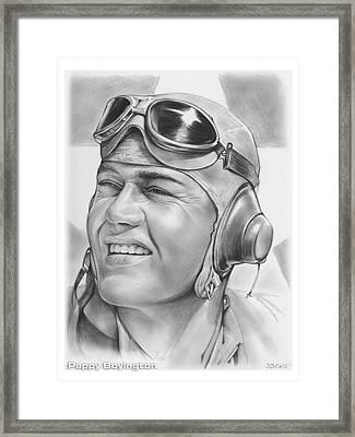 Pappy Boyington Framed Print by Greg Joens