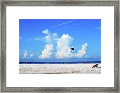 Framed Print featuring the photograph Para Sailing On Siesta Key by Gary Wonning