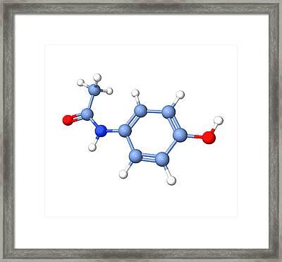 Paracetamol Molecule Framed Print by Dr Tim Evans