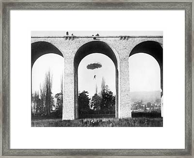 Parachute Jump From Bridge Framed Print by Underwood Archives