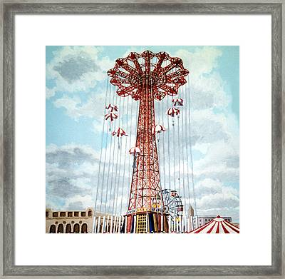 Parachute Jump In Coney Island New York Framed Print by Bonnie Siracusa