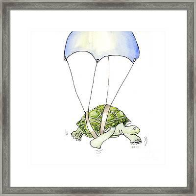 Parachute Turtle Framed Print by Fran Henig