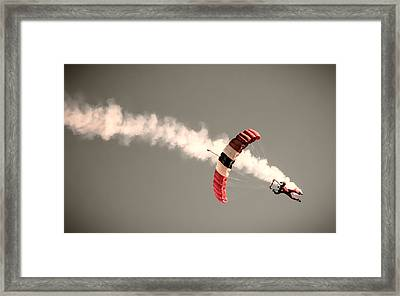 Parachuting In Framed Print by Martin Newman