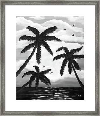 Framed Print featuring the painting Paradise In Black And White by Teresa Wing