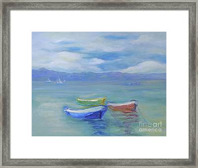 Framed Print featuring the painting Paradise Island Boats by Barbara Anna Knauf