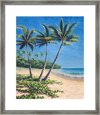 Framed Print featuring the painting Tropical Paradise Landscape - Hawaii Beach And Palms Painting by Karen Whitworth