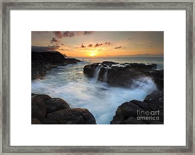 Paradise Sunset Splash Framed Print by Mike Dawson