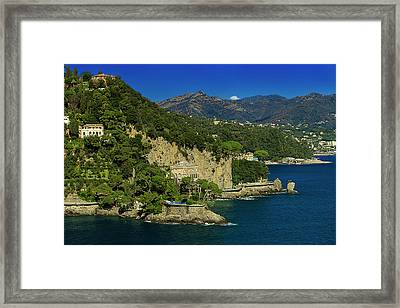 Paraggi Bay Castle And Liguria Mountains Portofino Park  Framed Print