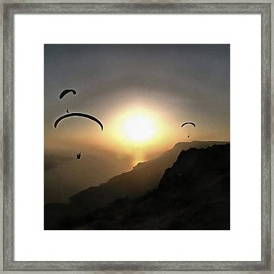 Paragliders Flying Without Wings Framed Print