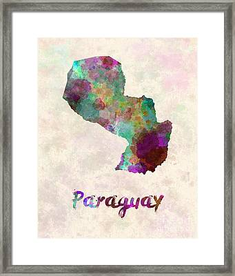Paraguay In Watercolor Framed Print