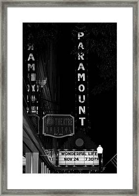 Paramount Marquee Bristol Tennessee Framed Print by Denise Beverly
