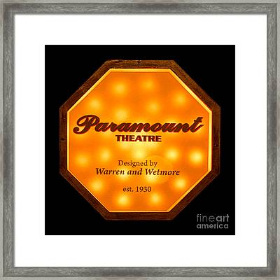 Paramount Theater Sign Framed Print by Olivier Le Queinec