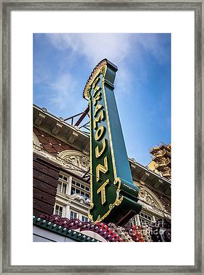 Paramount Theatre Sign Austin Texas Framed Print