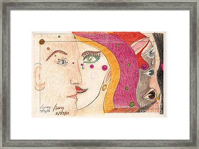 Framed Print featuring the drawing Paranoia by Rod Ismay