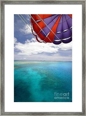 Parasail Over Fiji Framed Print by Dave Fleetham - Printscapes