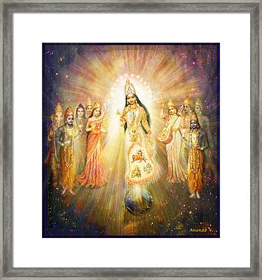 Parashakti Devi - The Great Goddess In Space Framed Print