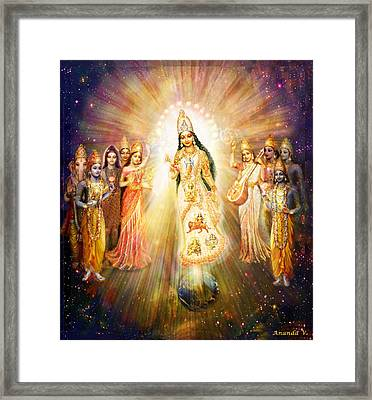 Parashakti Devi/ The Great Mother Goddess In Space Framed Print by Ananda Vdovic