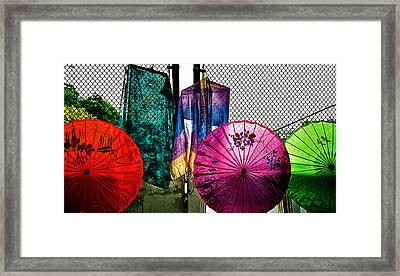 Parasols At A Flea Market Framed Print