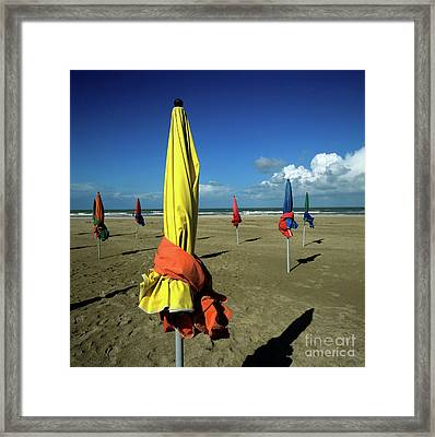 Parasols Of Deauville Framed Print by Bernard Jaubert