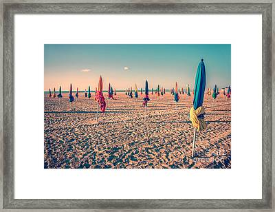 Parasols Of Deauville Framed Print by Delphimages Photo Creations