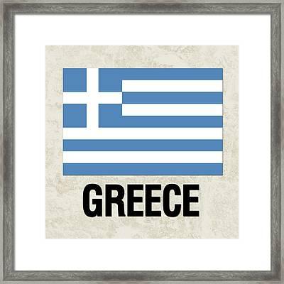Parchment Flag Greece Framed Print