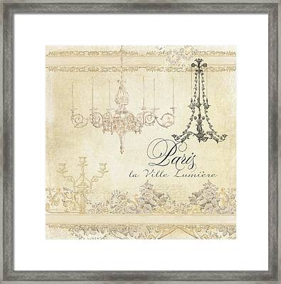 Parchment Paris - City Of Light Chandelier Candelabra Chalk Framed Print by Audrey Jeanne Roberts