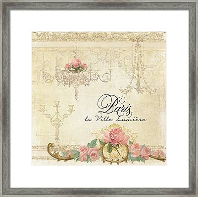 Parchment Paris - City Of Light Chandelier Candelabra Chalk Roses Framed Print by Audrey Jeanne Roberts