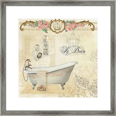 Parchment Paris - Le Bain Or The Bath Chandelier And Tub With Roses Framed Print by Audrey Jeanne Roberts