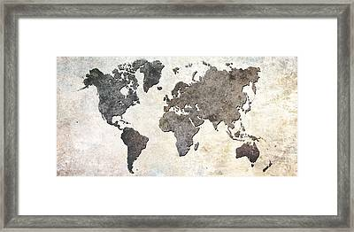 Framed Print featuring the digital art Parchment World Map by Douglas Pittman