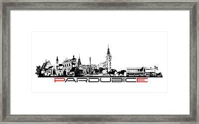 Pardubice Skyline City Black Framed Print