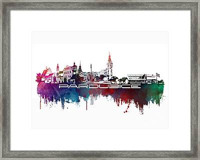 Pardubice Skyline City Blue Framed Print