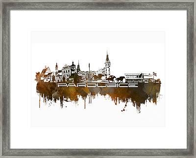 Pardubice Skyline City Brown Framed Print
