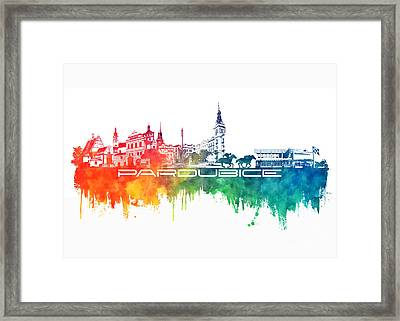 Pardubice Skyline City Color Framed Print