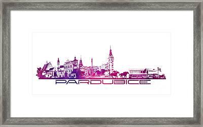 Pardubice Skyline City Purple Framed Print